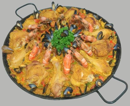 paella aux gambas et poulet géante