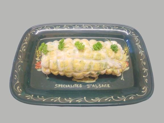 rôti de palette saumurée et badigeonnée de moutarde et persillade à cuire en cocotte