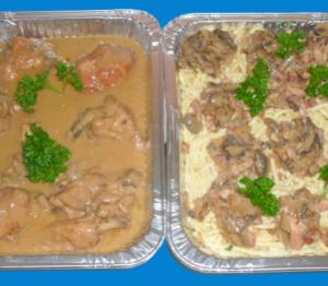 plat de coq au riesling accompagné de spätzles pour 6 personnes