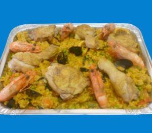 plat de paella au poulet pour 6 personnes